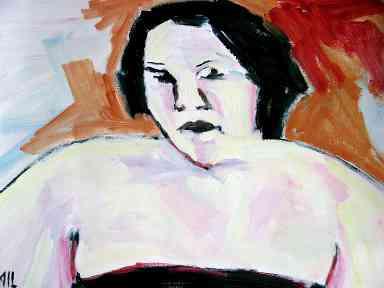 portrait chubby woman